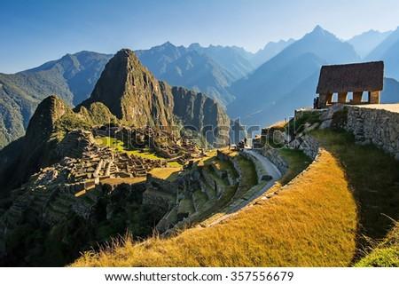 Machu Picchu sunrise, Peru (nice colorful image) - stock photo