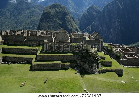 Machu Picchu, the ancient Inca city in the Andes - Peru - stock photo
