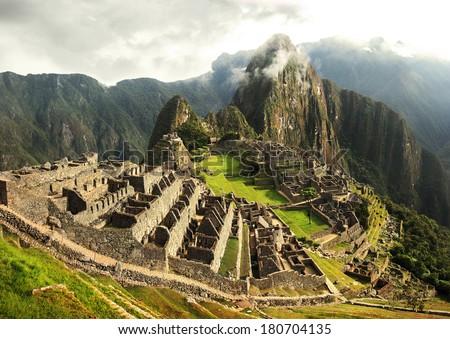 Machu Picchu - The lost Incan city in Peru near river Urubamba - stock photo