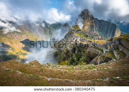 Machu Picchu, UNESCO World Heritage Site. One of the New Seven Wonders of the World. - stock photo