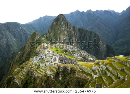 Machu Picchu view in early morning view from above