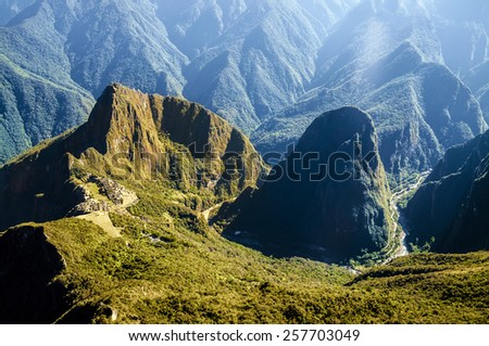 Machu Picchu view in early morning view from above - stock photo