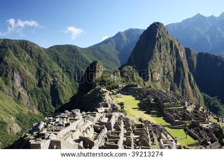 Machu Picchu; World's wonder; Peru - stock photo