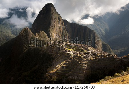 Machu pichu, Peru, panoramic view of the ruins at the morning. - stock photo