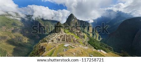Machu pichu, Peru, panoramic view of the ruins at the morning. - stock photo