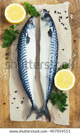 Mackarel at cutting old wooden  table with lemon and parsley toning - stock photo