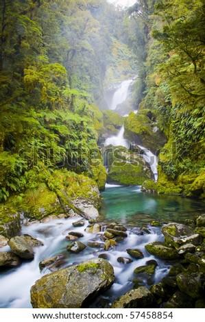 Mackay Falls lush setting on the Milford Track, New Zealand. - stock photo