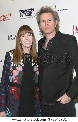 "Mackenzie Phillips and John Taylor arrive at the ""7th Annual Experience, Strength and Hope Awards Show"" at the Skirball Cultural Center in Los Angeles, CA on Feb. 16, 2016"
