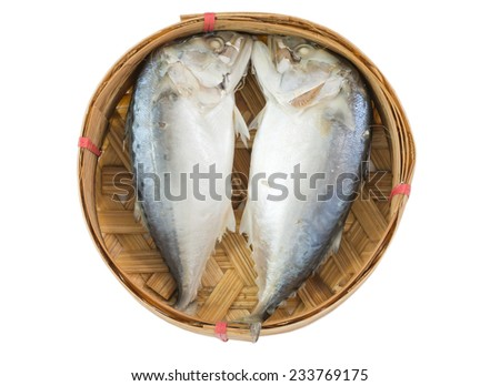 Mackerel steamed on bamboo basket isolated on white background - stock photo
