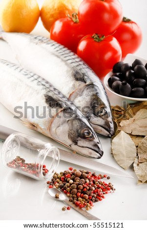 mackerel with spice - stock photo