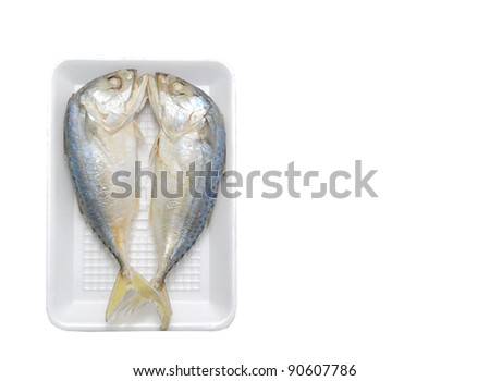 Mackerels steamed in a pack - stock photo