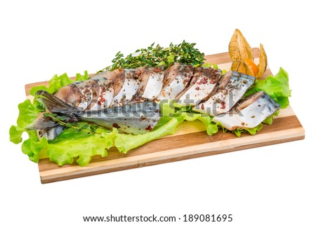 Mackerels with salad and thyme
