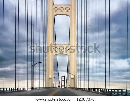 Mackinac Bridge, Between Michigan's Lower Peninsula And Upper Peninsula - stock photo