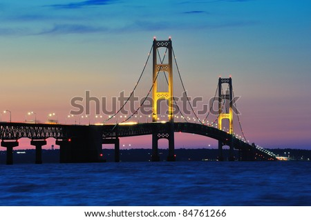 Mackinac Bridge - Mackinaw City, Michigan - stock photo