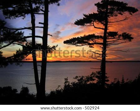Mackinac Island Michigan sunset - stock photo