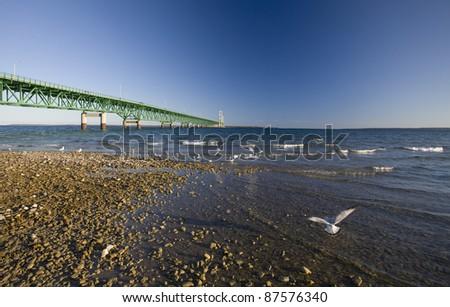 Mackinaw City Bridge Michigan Autumn Fall St Ignace - stock photo