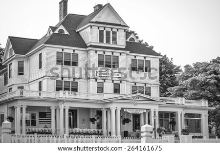 Mackinaw Island, Michigan. March 24, 2015. The Windemere Hotel on Mackinaw has been welcoming guests for over a century. Like most historic hotels on the island there are rumors of a resident ghost. - stock photo