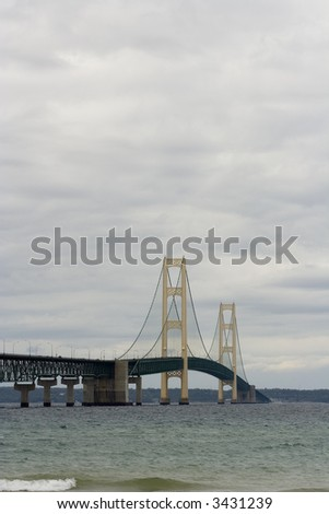 Mackinaw (Mackinac)  bridge in northern Michigan it's an suspension bridge. It connects the upper and the lower peninsula.  The bridge was Open to traffic November 1, 1957. - stock photo