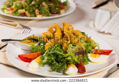 Macro Appetizing Main Course with Meat, Vegetable,Egg and Sauce on White Plate Served for Guest.