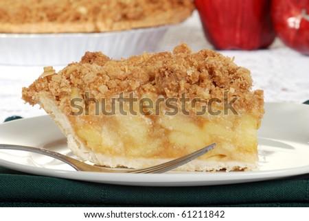 macro apple crumble pie - stock photo