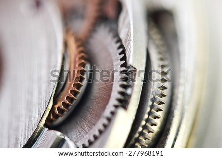 Macro, background with metal cogwheels a clockwork. Conceptual photo for your successful business design - stock photo