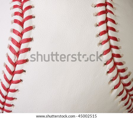 Macro baseball showing the red seams - stock photo