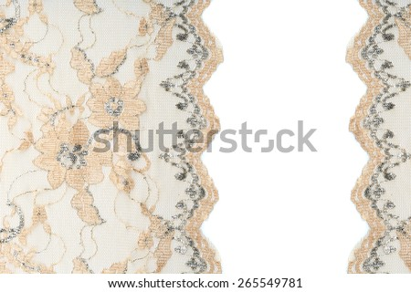 macro beige lace with flowers on white background studio - stock photo
