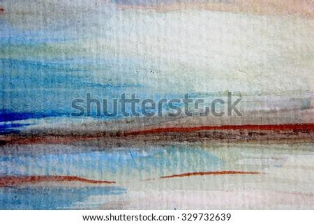 Macro Blue and Orange Watercolor 11 - stock photo