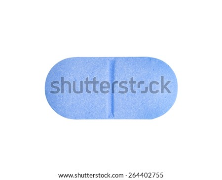 Macro blue medical pill tablet isolated on white - stock photo