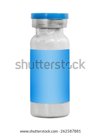Macro blue medicine injection vials isolated on white - stock photo