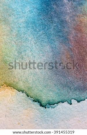 Macro Blue Yellow and Purple Watercolor 14 - stock photo