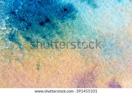 Macro Blue Yellow and Purple Watercolor 12 - stock photo