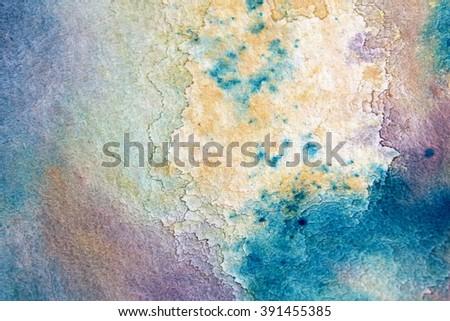 Macro Blue Yellow and Purple Watercolor 7 - stock photo