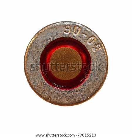 Macro bullet isolated on white - stock photo