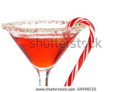 macro candy cane martini shallow DOF - stock photo