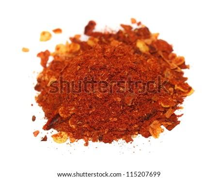 Macro cayenne pepper isolated on white background - stock photo