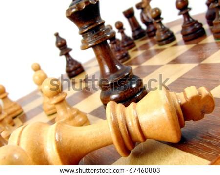 Macro Chess Pieces on board - stock photo