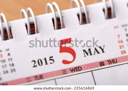 Macro Chinese Calendar 2015 - May with Chinese number word - stock photo