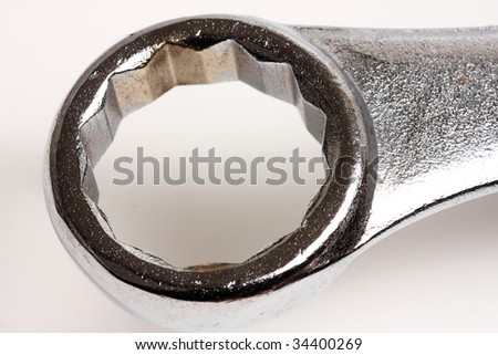 macro close up of a box end wrench - stock photo
