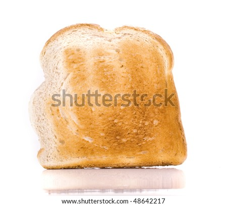 Macro Close-up of a Piece of toast isolated on white - stock photo