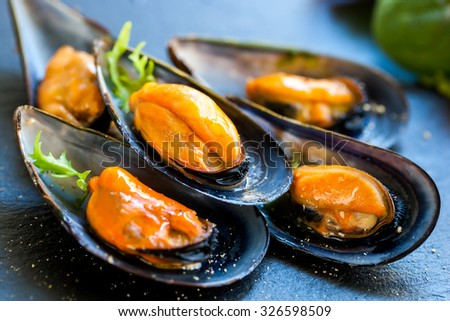 Macro close up of appetizing fresh Steamed sea mussels. Large blue mussels on dark plate - stock photo