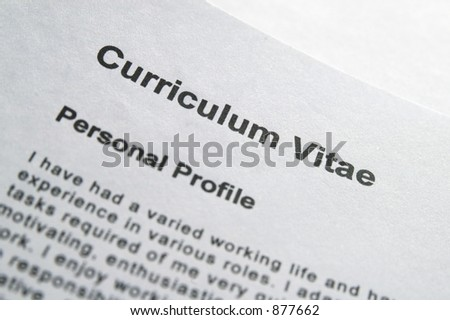 Macro close-up of Curriculum Vitae title page - stock photo
