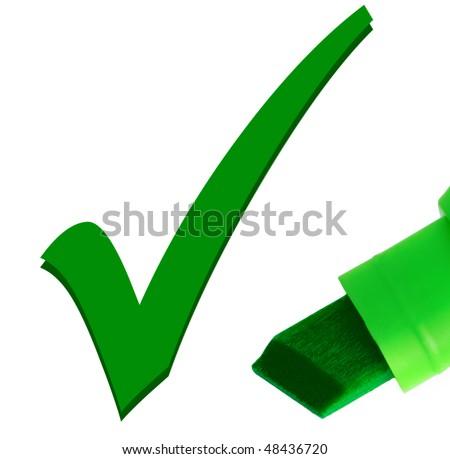 Macro close-up of green pen, checking OK tick mark - stock photo