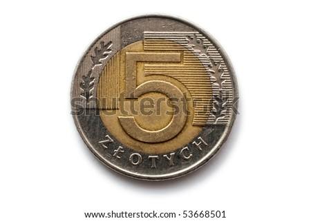 Macro close-up of polish 5 zloty coin - stock photo