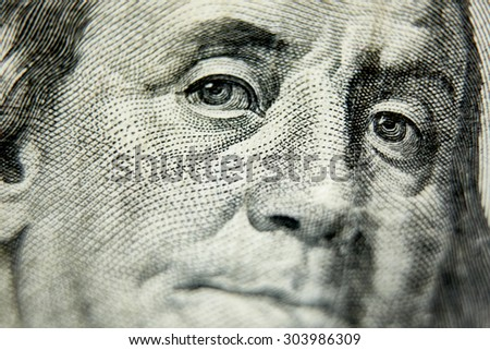 Macro close up of the US 100 dollar bill. Extreme macro. Shallow dof - stock photo