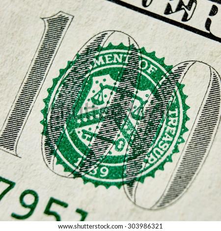 Macro close up of the US 100 dollar bill. Extreme macro. Shallow dof - stock photo