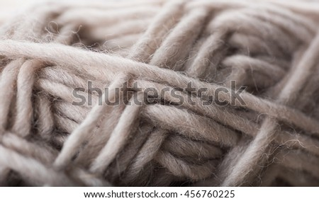 Macro Close up of Wool Yarn in Beige Color  - stock photo