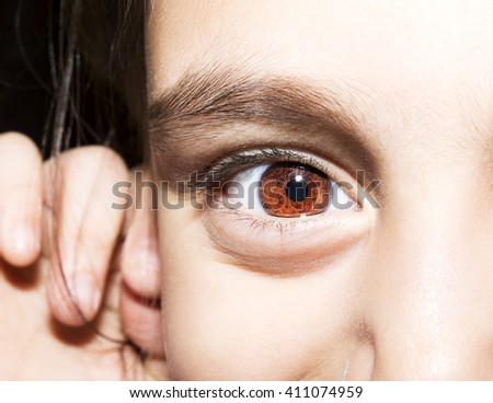 Macro Close up portrait of young girls brown eyes. - stock photo