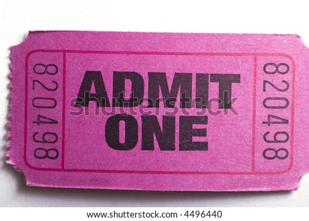 Macro closeup of an admit one ticket - stock photo