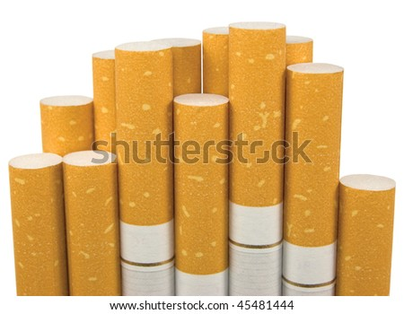 Macro Closeup Of Class A Filter Cigarettes, Isolated